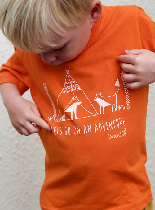 orange kids adventure T-shirt
