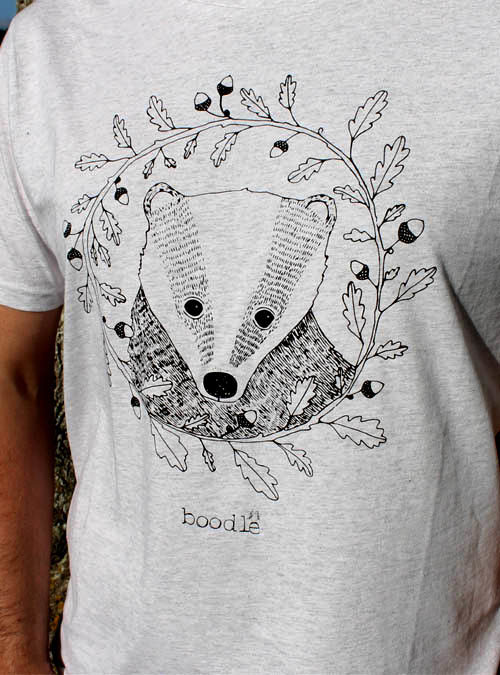Badger and oak mens T-shirt close up