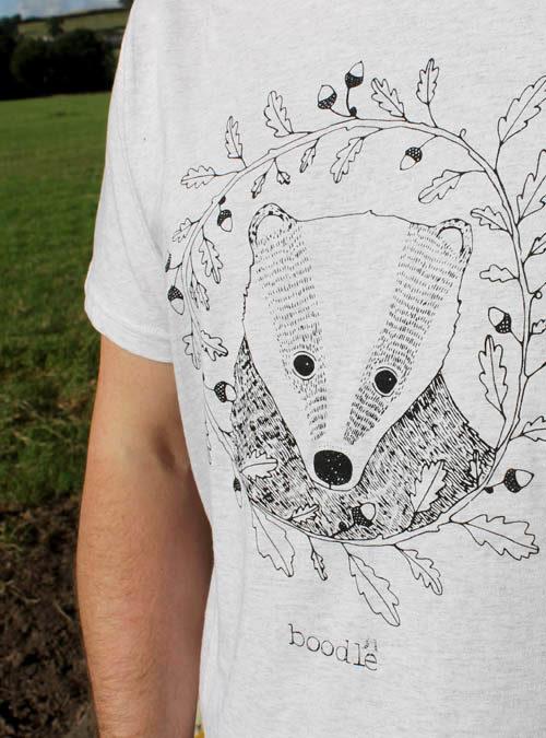 Mens badger T-shirt close up of screen print
