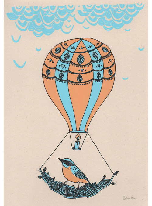 bird and balloon art print