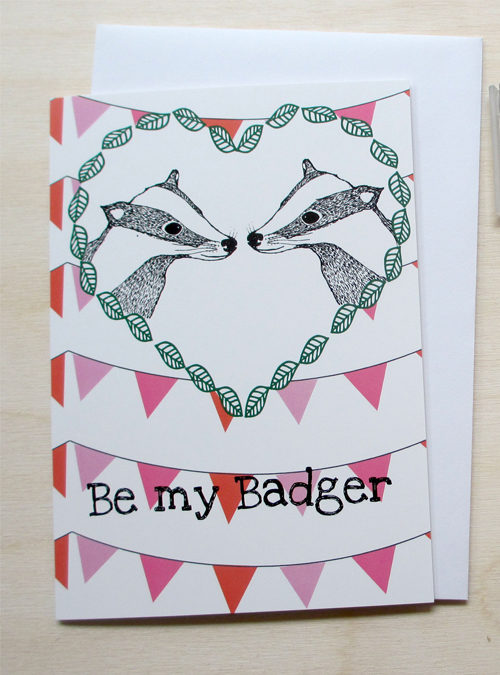 badger valentines card