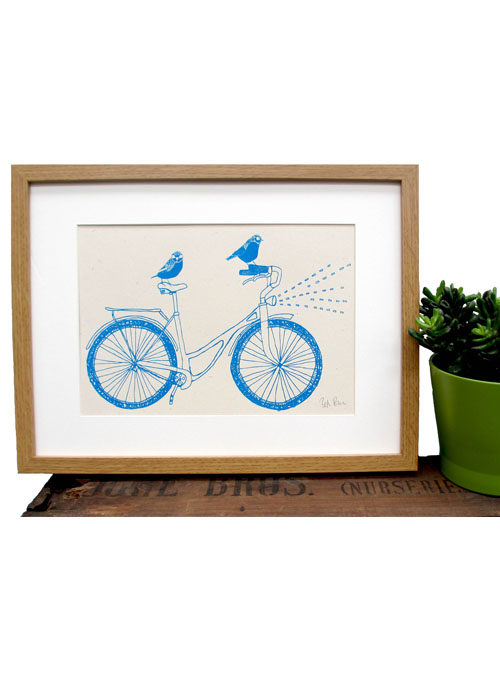 birds on a bike print