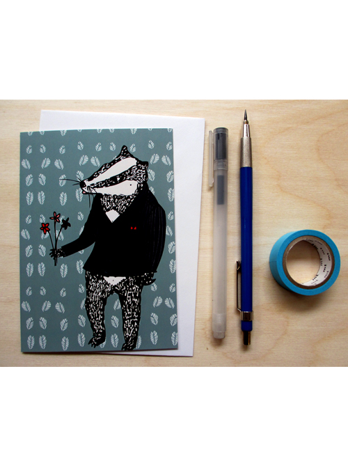 badger in a suit card