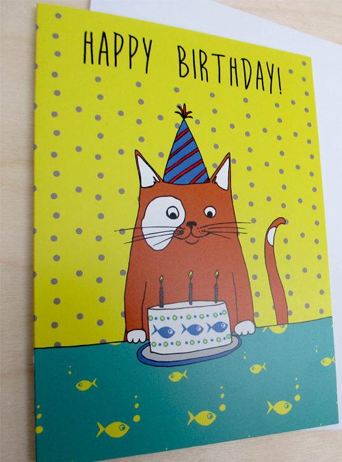 birthday cat card close up