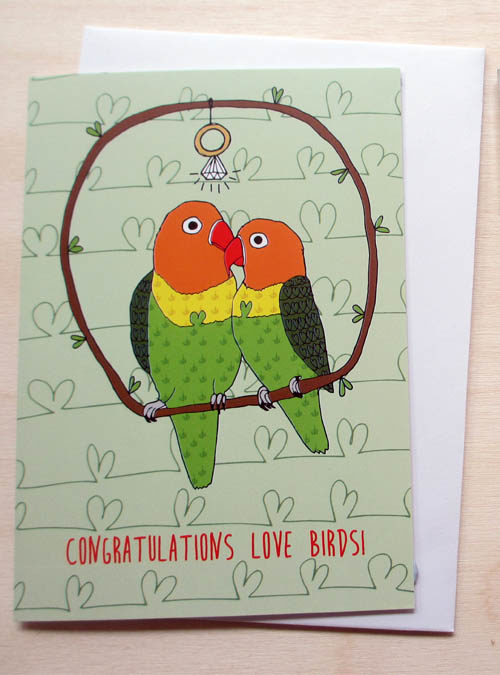 love birds engagement card
