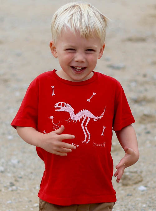 kids red dinosaur T-shirt