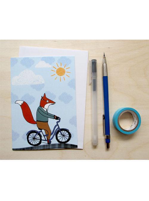 fox on a bike card