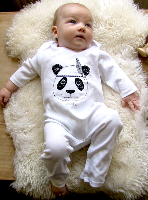 organic cotton panda baby grow