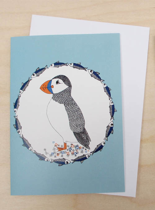 puffin and herring card