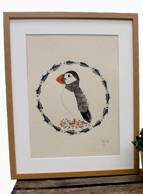 puffin and herring print close up