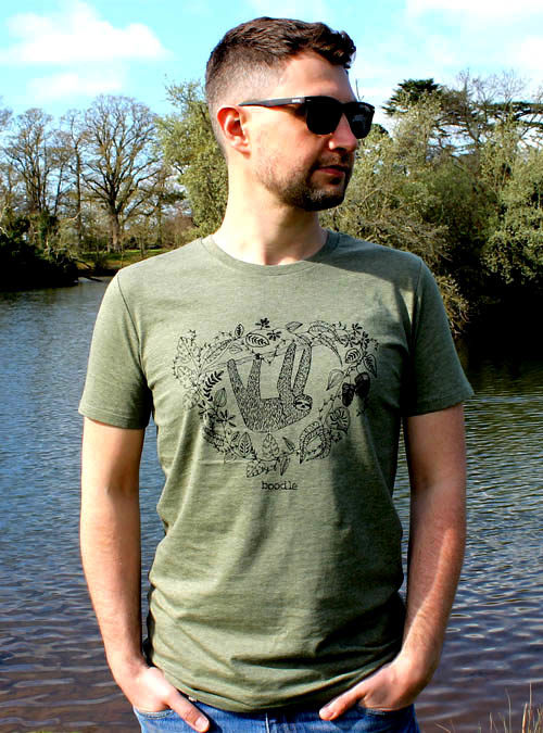 mens green sloth tshirt