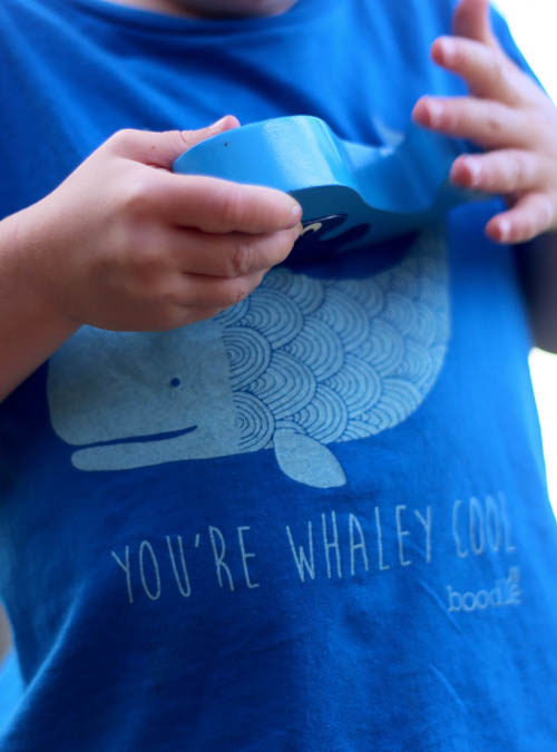 close up of whaley cool kids t-shirt